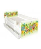 Łóżko z BARIERKĄ 160 x 80 cm + szuflada - KwiatyZielone-model IGOR