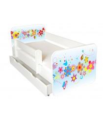 Łóżko z BARIERKĄ 160 x 80 cm + szuflada - KwiatyNiebieskie-model IGOR