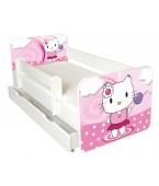 Łóżko z BARIERKĄ 140 x 70 cm + szuflada -Pink Kitten-model IGOR+szuflada-62